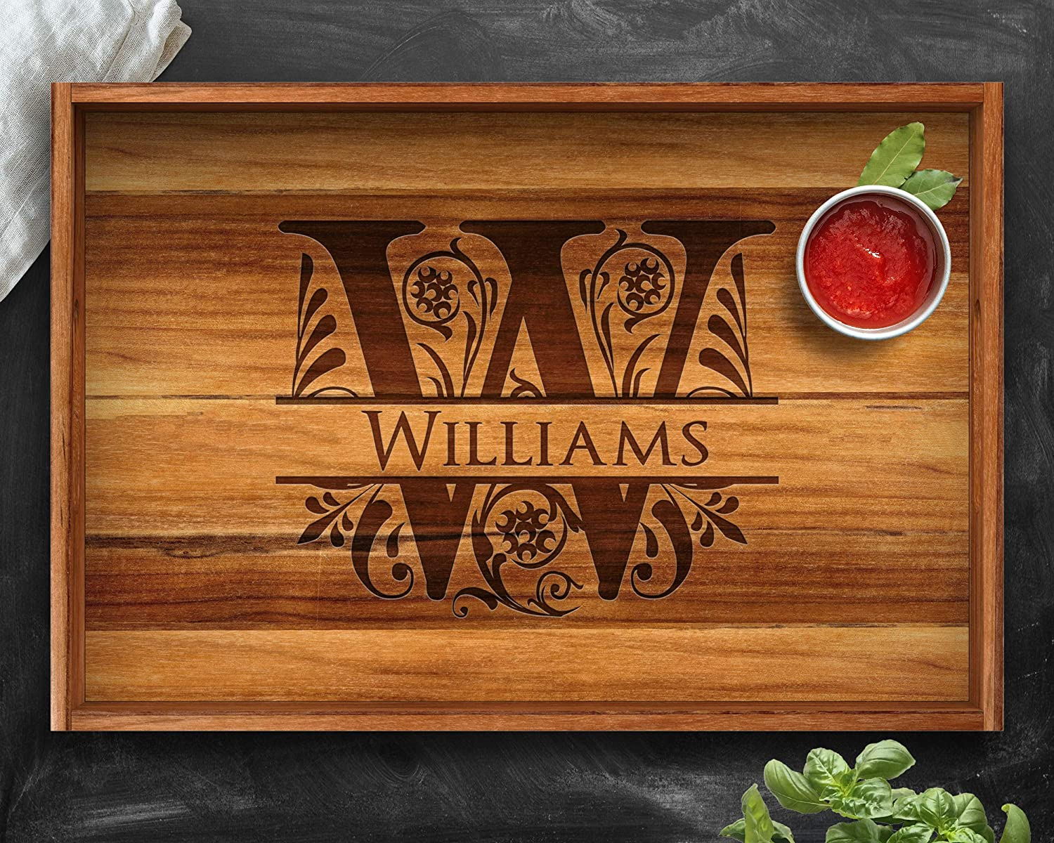 Personalized Christmas Gifts Wedding Gift Split Letter Custom Tray Housewarming Gift Engagement Tray Wood Tray Teak Tray Engraved Tray Anniversary Gift Personalized Tray