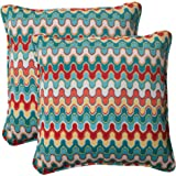 Pillow Perfect Indoor/Outdoor Nivala Corded Throw Pillow, 18.5-Inch, Blue, Set of 2