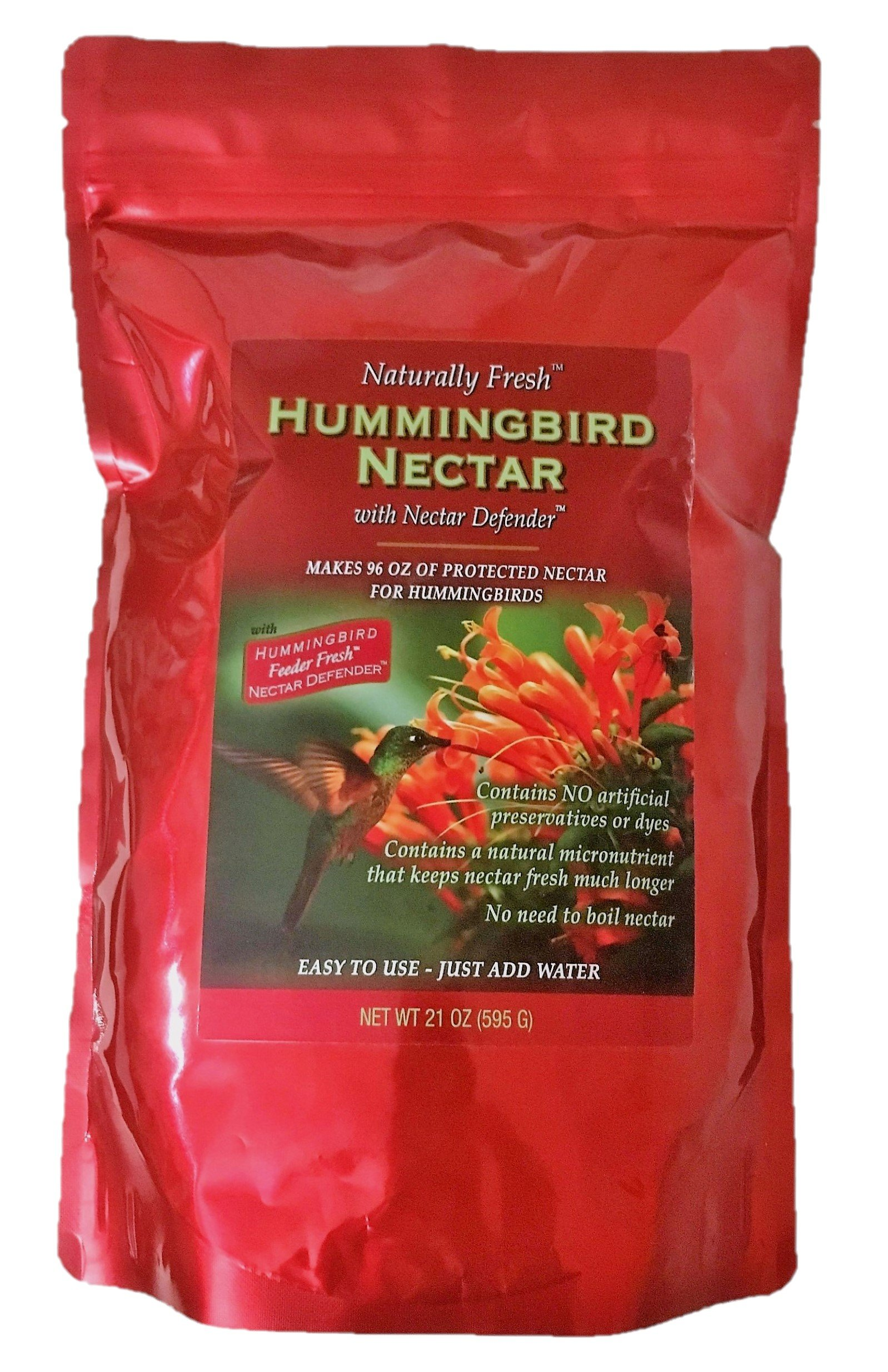 Naturally Fresh Hummingbird Nectar with Nectar Defender, A Powder Food Mix with Long Lasting Results, Makes 96 ounces of Clear Feeder Sweetness