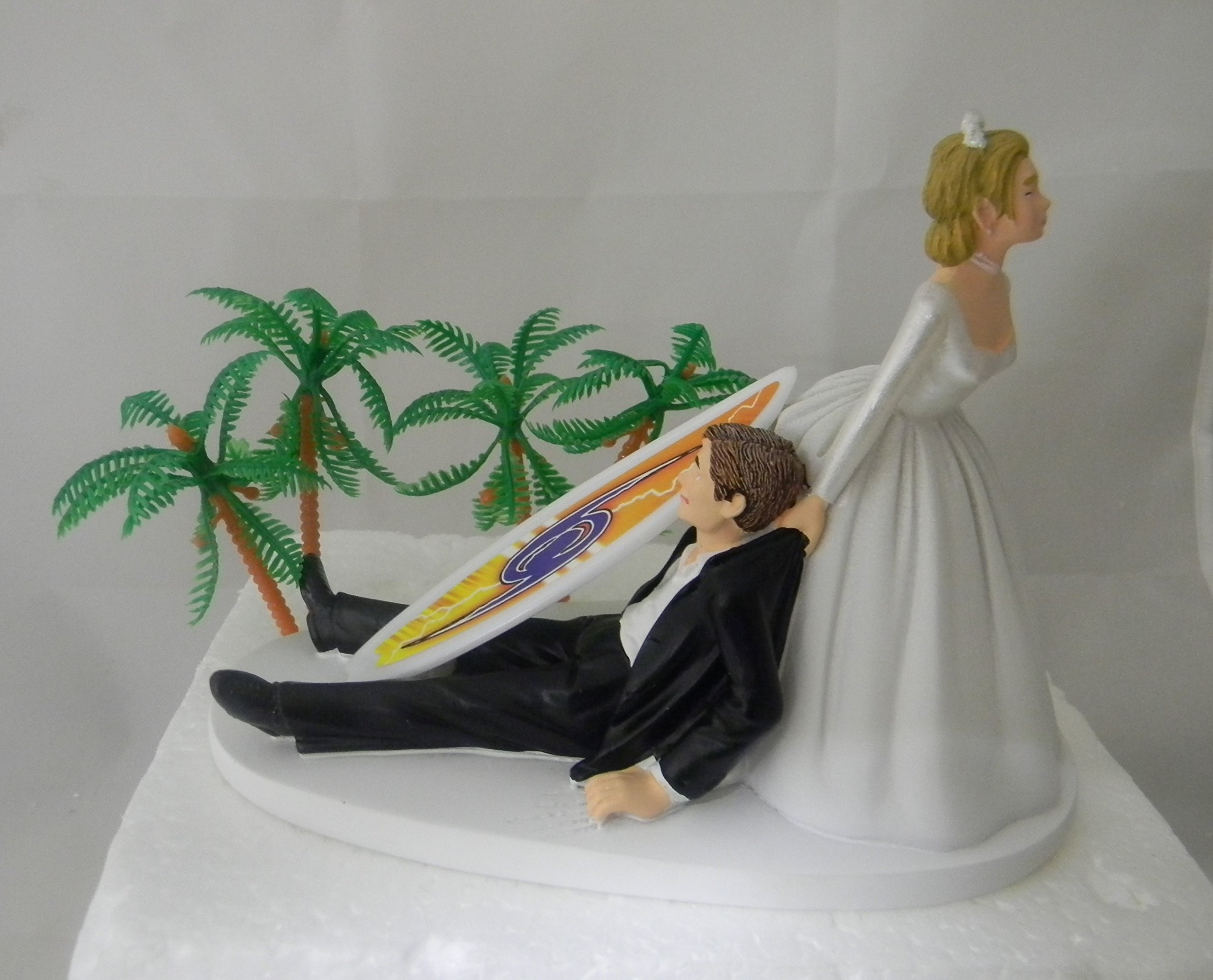 Wedding Reception Party Bridal Beach Ocean Surfboard Surfer Cake Topper