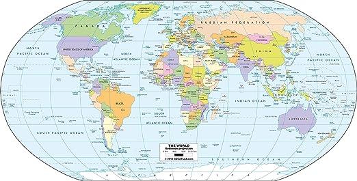 Robinson Projektion Weltkarte Poster Papier A3 Amazon De Kuche