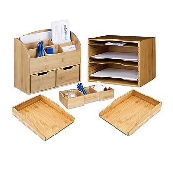 Organizer Bambus Aufbewahrungsbox Schreibtisch-Organizer Briefablage Schubladen