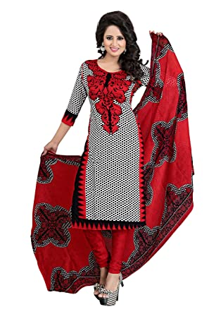 cf7a0f25e60ff6 Amazon Great Indian Sale Dresses for women party wear Designer Clothing  Today Offers Low Price Sale Top Red Color Crepe Fabric Free Size Salwar Suit:  ...