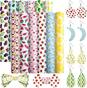 12 Pieces Fruit Food Theme Faux Leather Sheets Fruit Pattern Printed Artificial Leather Sheets for Earrings Hair Band DIY Making Crafts Supplies, 6.3 x 8.3 Inches