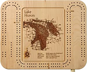 Beaver Lake - Waukesha County - WI - Cribbage Board 9 x 12 in - Laser Etched Wood Nautical Chart and Topographic Depth map.