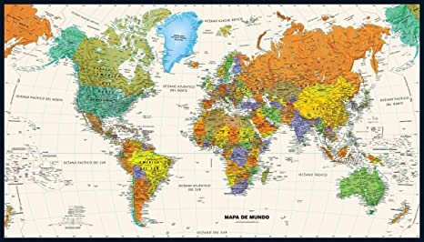 Contemporary World Wall Map in Spanish - 50\