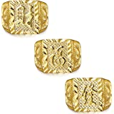 "LOLIAS 3-4 Pcs"" Gold Bless All"" Men's Gold Plated Kanji Ring Rich Luck Wealth Set Size Adjustable"