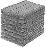 Gryeer Microfiber Kitchen Towels, Super Absorbent, Extra Large and Thick Dish Towels, Stripe Designed, 8 Pack, 28 x 20…