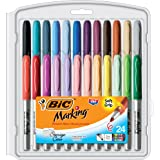 BIC Marking Permanent Marker Fashion Colors, Fine Point, Assorted Colors, 24-Count