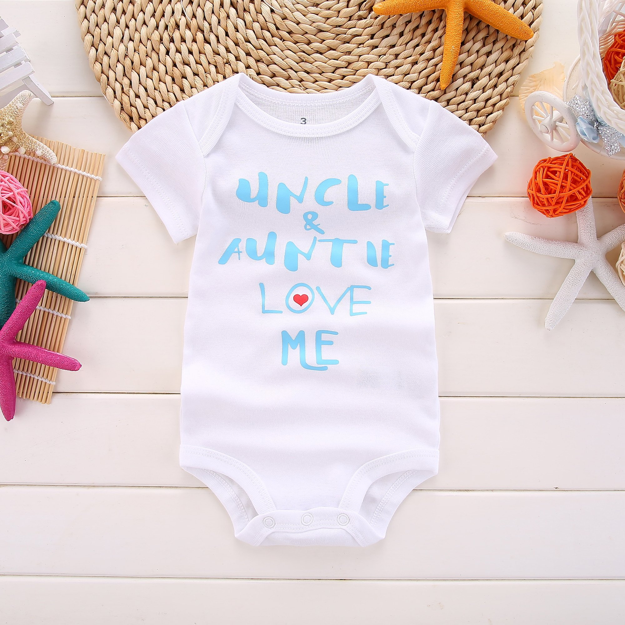 Winzik Newborn Baby Boys Girls Outfits Uncle Auntie Love Me Letters Print Baby Onesie Romper Jumpsuit T-Shirt (0-3 Months, White Blue) by Winzik (Image #2)