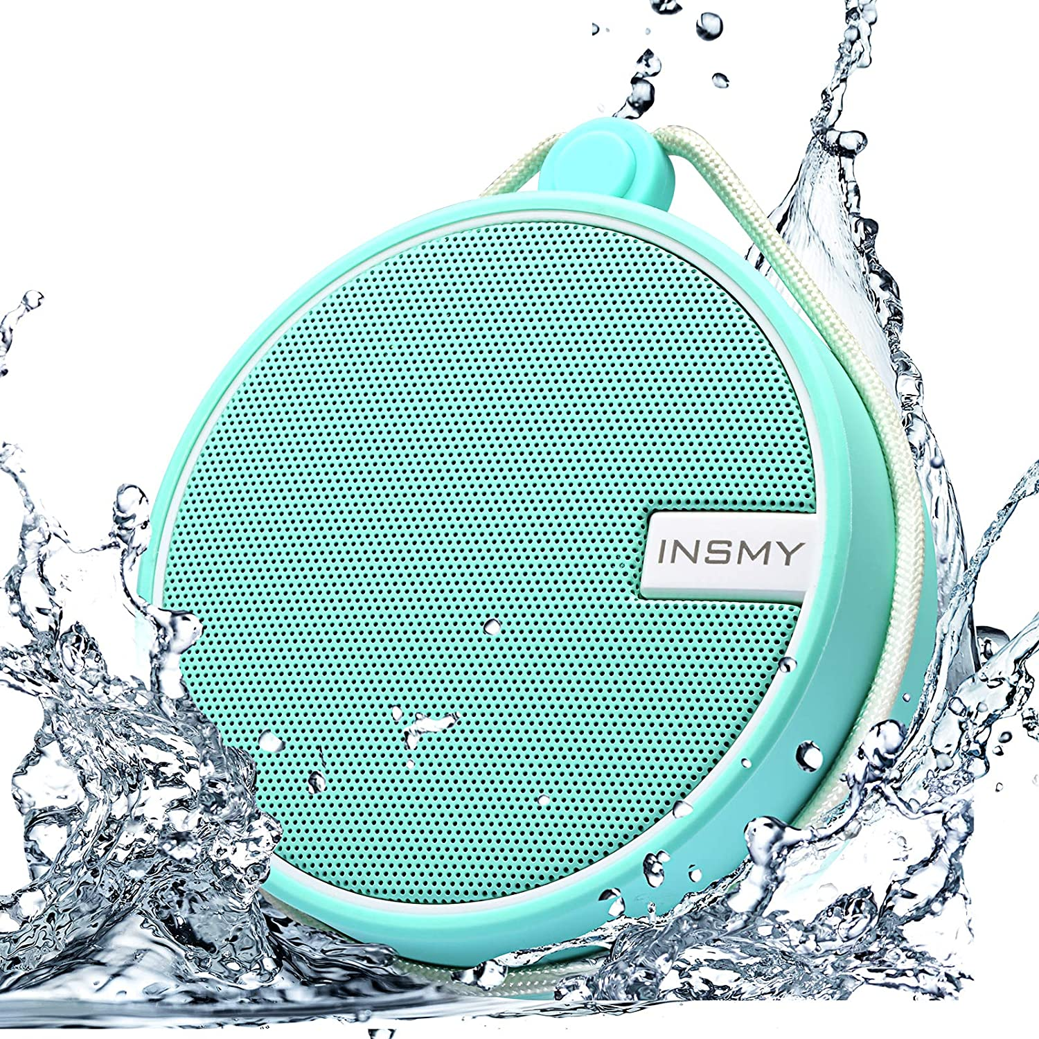 INSMY Portable IPX7 Waterproof Bluetooth Speaker, Wireless Outdoor Speaker Shower Speaker, with HD Sound, Support TF Card, Suction Cup, 12H Playtime, for Kayaking, Boating, Hiking (Mint)