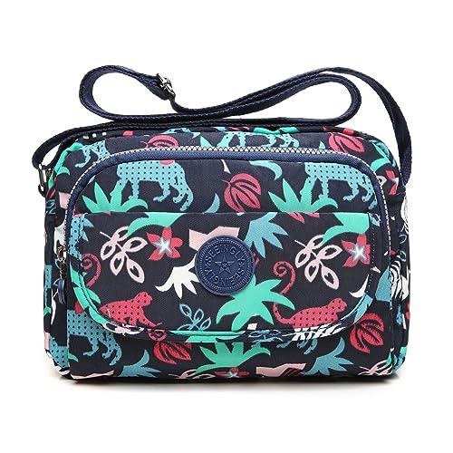 tuokener Bolso de Mujer Bandolera Bolsillos Impermeable Bolsos Pequeños Bandoleras Bolsa para Viaje Crossbody Bag Nylon Waterproof