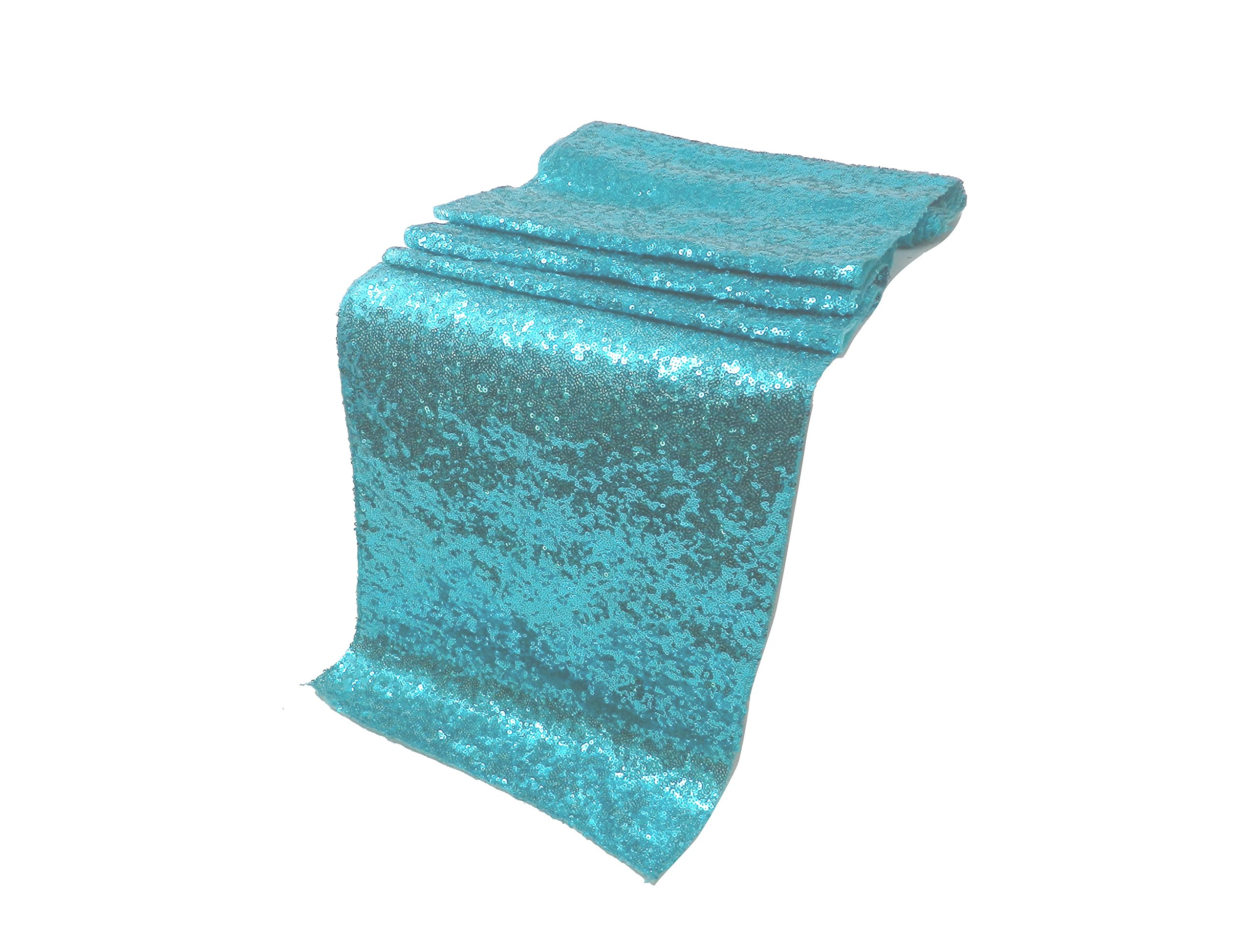 Elina Home 13'' x 108'' Glitter Sequin Table Runner,Wedding Banquet Kitchen Decoration(Pack of 10,Aqua Blue)