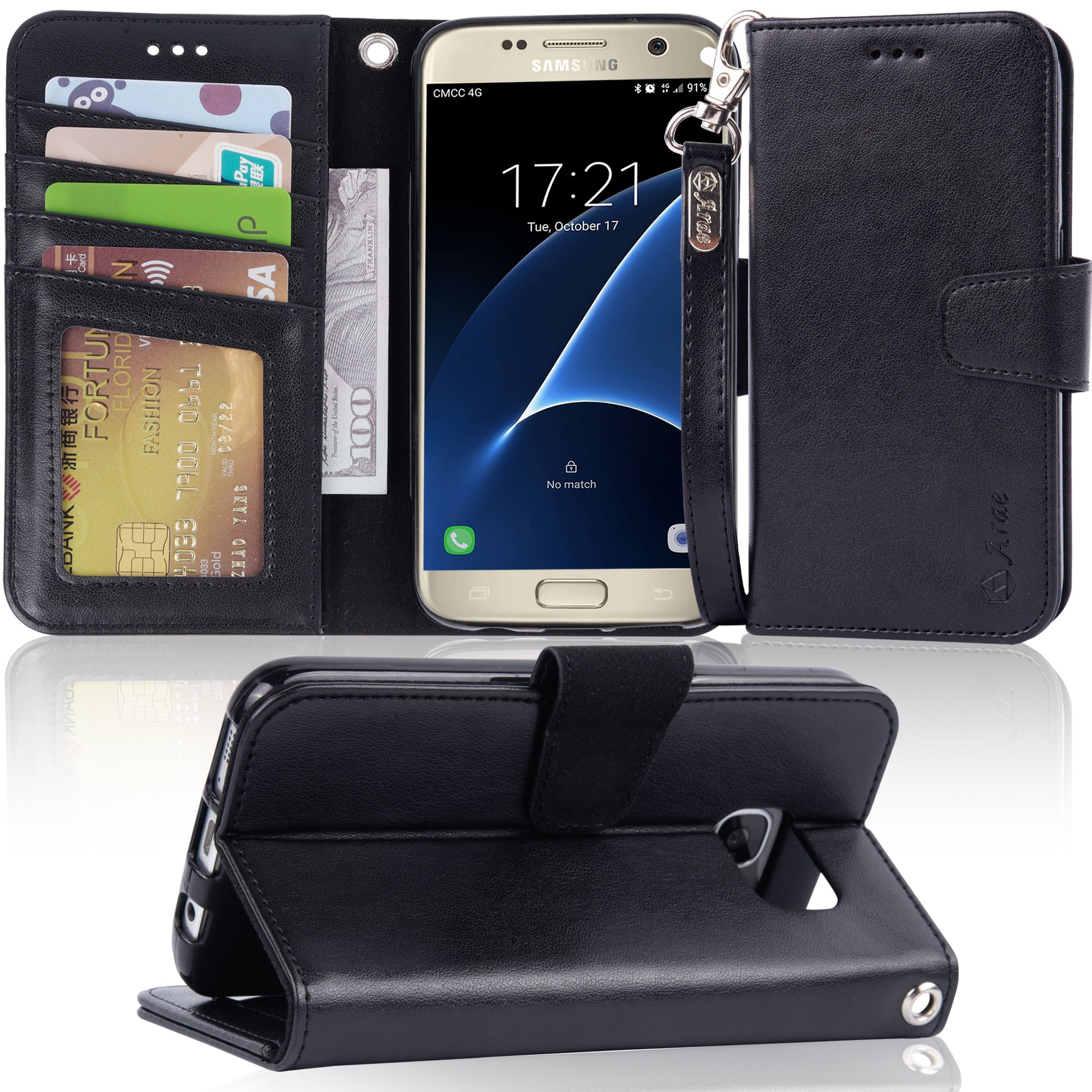 Galaxy s7 Case, Arae [Wrist Strap] Flip Folio [Kickstand Feature] PU Leather Wallet case with ID&Credit Card Pockets for Samsung Galaxy S7 (Black)
