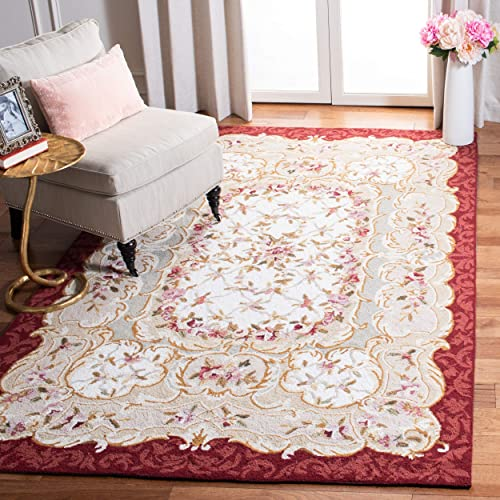Safavieh Chelsea Collection HK73A Hand-Hooked Ivory and Burgundy Premium Wool Area Rug 8'9″ x 11'9″