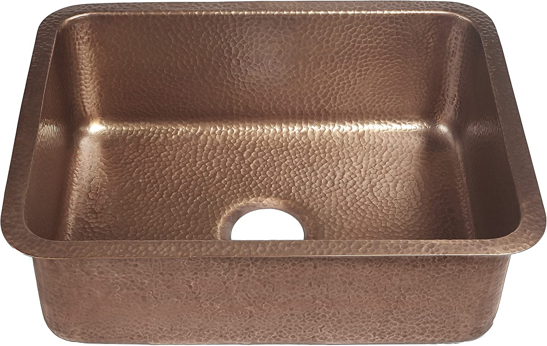 Sinkology SK201-23AC-AMZ-B Renoir Copper Kit with Basket Strainer Drain Undermount Kitchen Sink, 23 x 17.25 x 8 , Antique