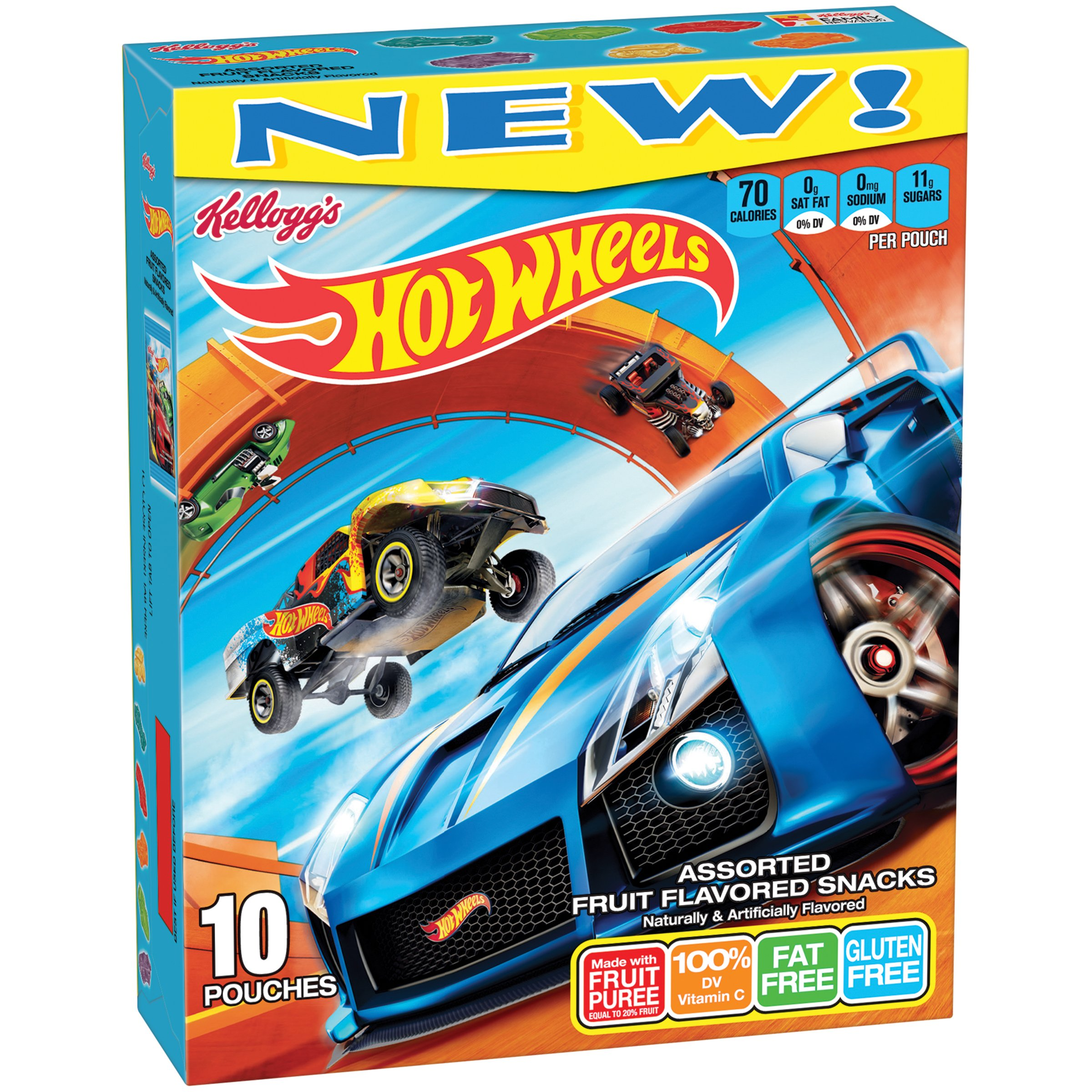 Fruit Flavored Snacks Kellogg's Hot Wheels, 10 Count, 8 Ounce