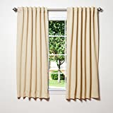 """Best Home Fashion Thermal Insulated Blackout Curtains - Back Tab/ Rod Pocket - Beige - 52""""W x 63""""L - (Set of 2 Panels)"""
