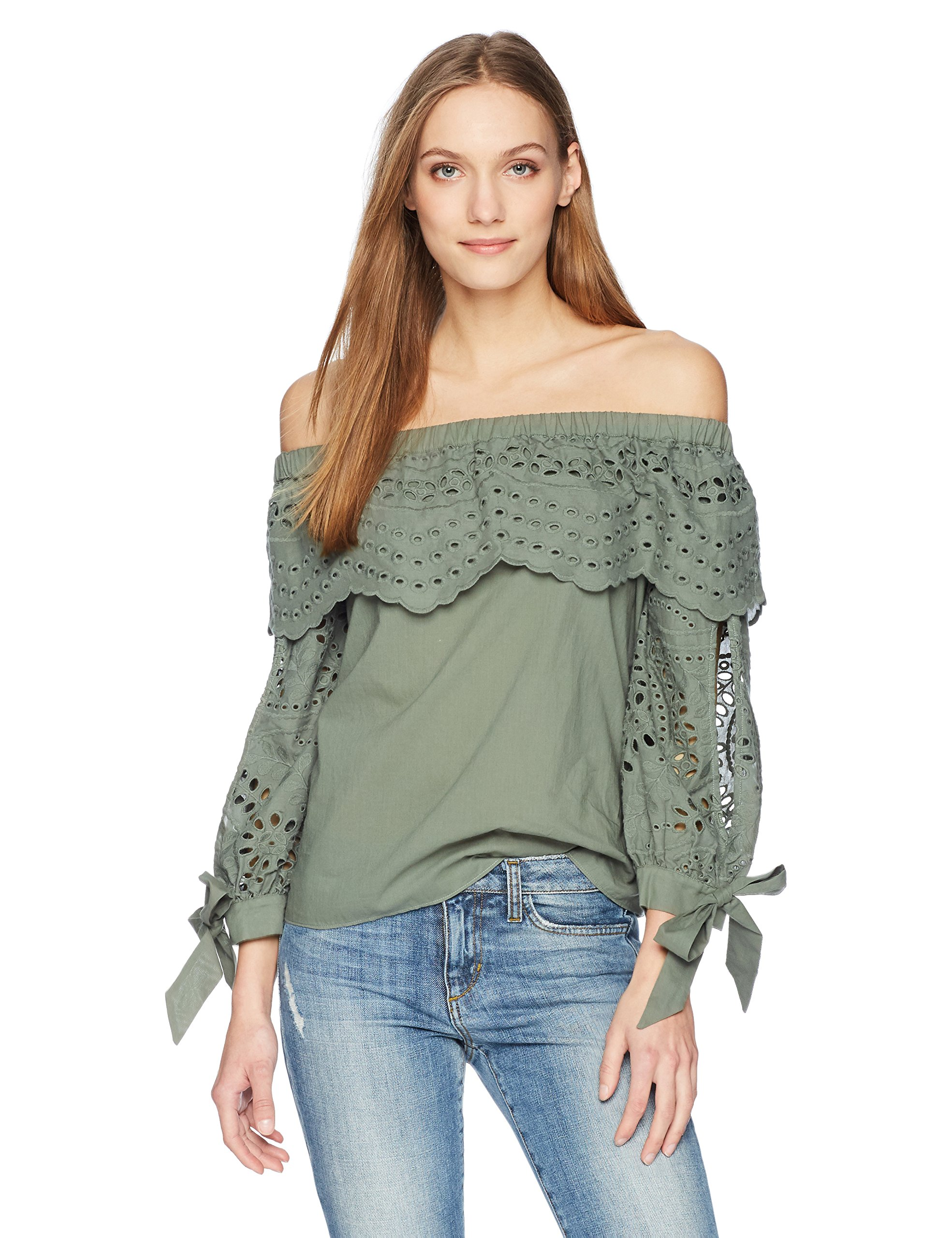 Parker Women's Mandy Off The Shoulder Eyelet Blouse, Greenbrier, L