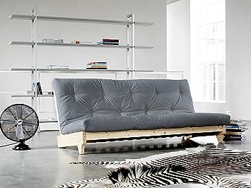 KARUP   FRESH, Smart Sofa Bed, Futon Light Grey, Natural Wood Frame