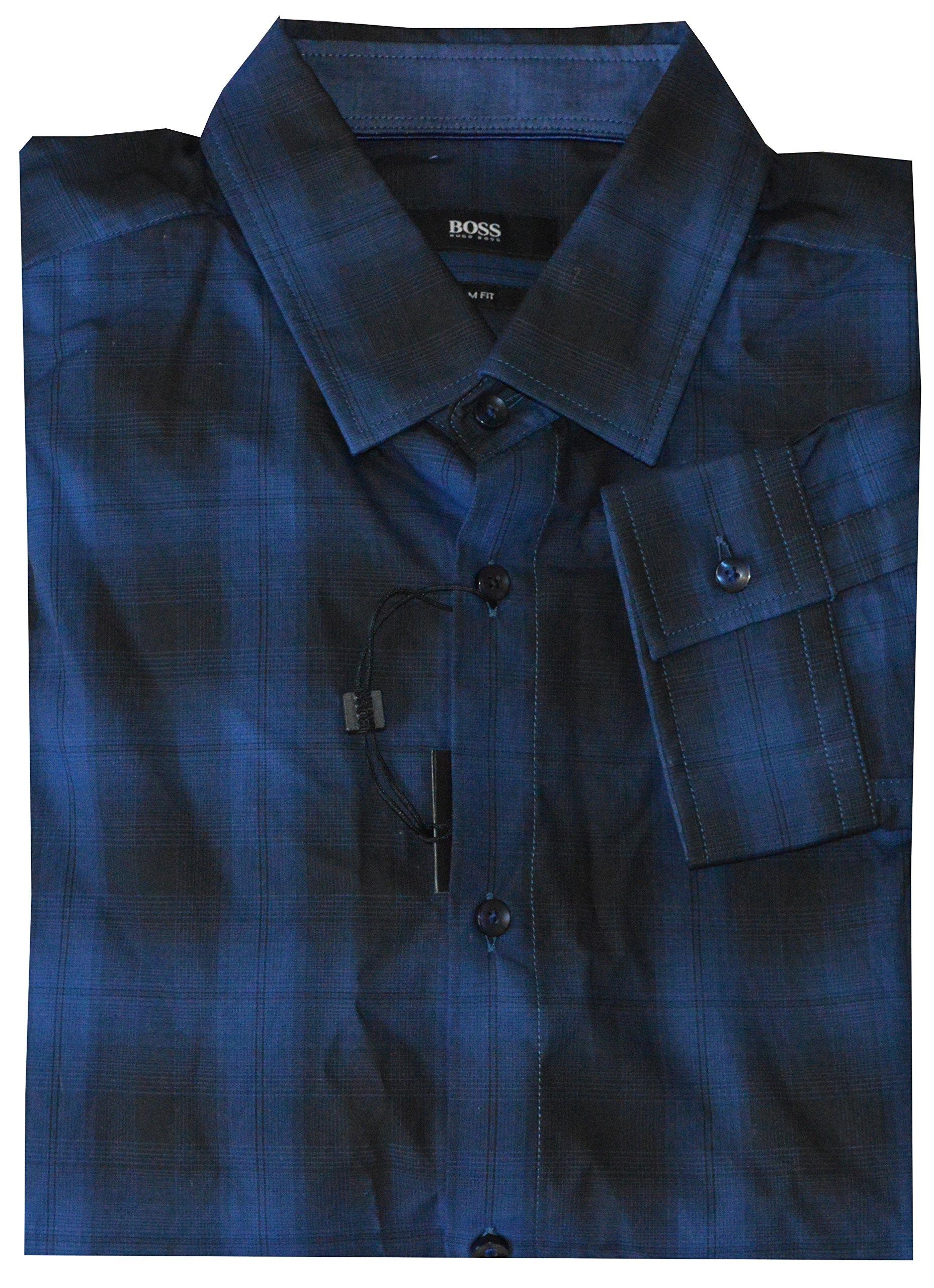 Hugo Boss Nemos Black Blue Plaid Slim Fit L/S Button Front Shirt Medium