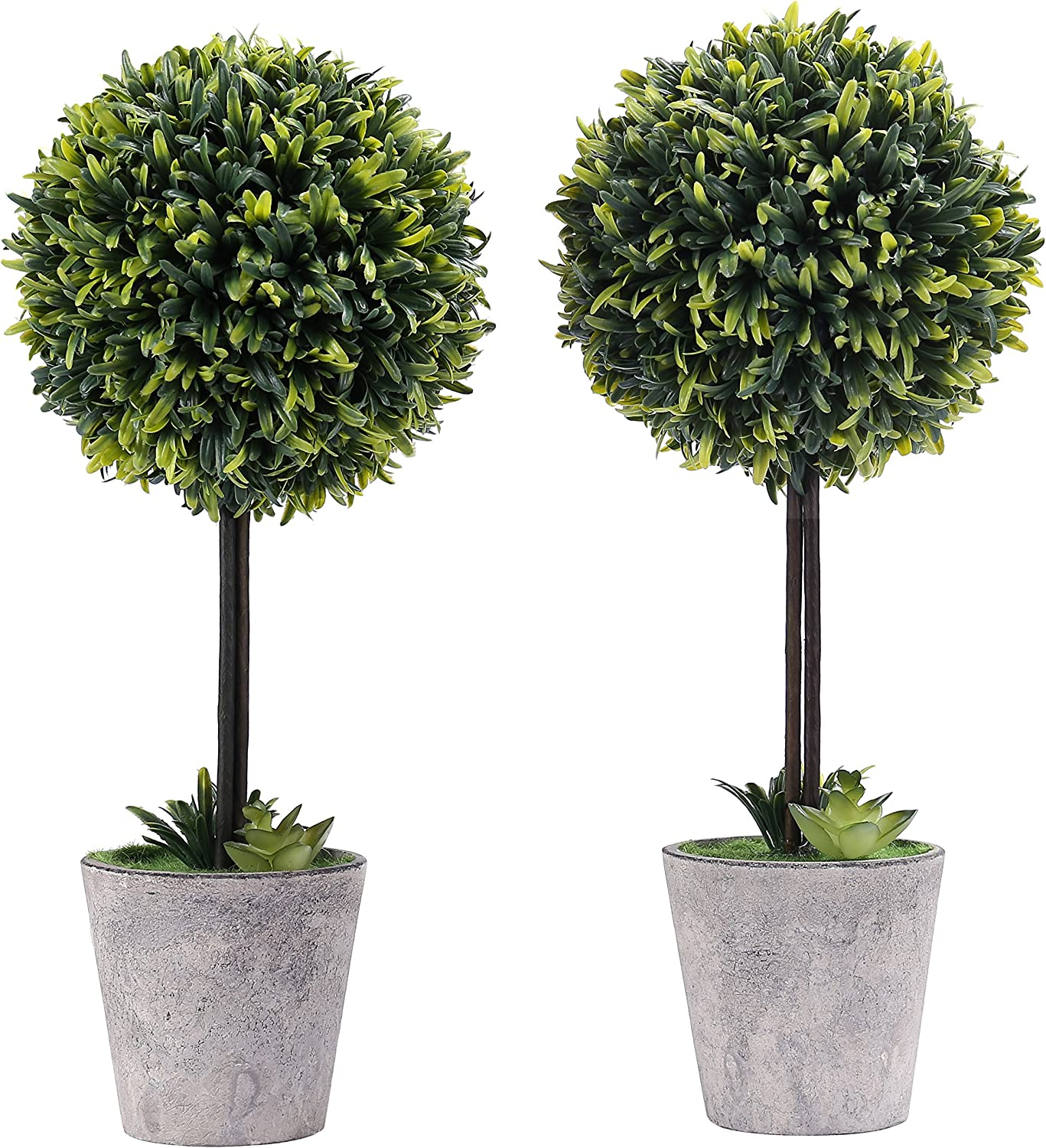 Mygift Artificial Boxwood Topiary Tree In Modern Gray Pulp Planter Set Of 2 Amazon Co Uk Kitchen Home