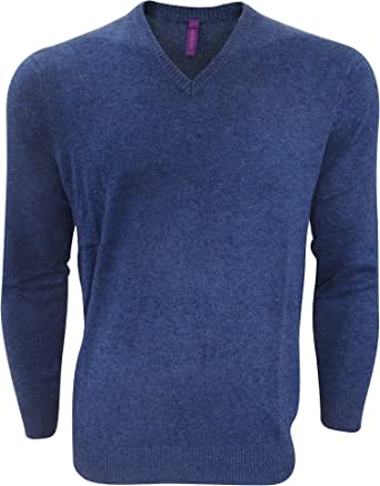 Henbury Mens V-Neck Tri-Blend Marl Sweater/Jumper