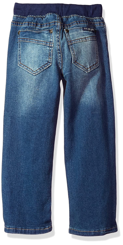 Drawstring Waist Washed Indigo 5//6 Little Boys Straight Leg Denim Jean U.S Polo Assn
