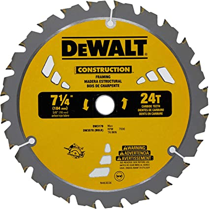 Amazon Com Dewalt Dw3578b10 Framing Blade 7 1 4 Dia 24 Tpi 5 8 Round Thin Kerf Bulk 10 Pack Garden Outdoor