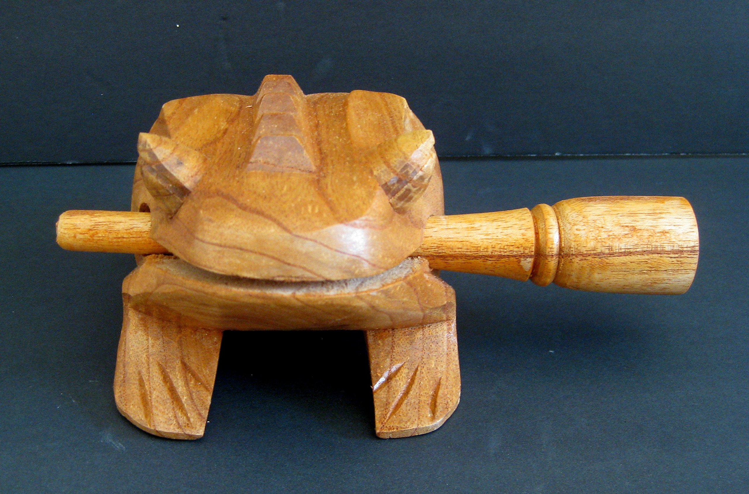 Croaking Frog Percussion Rasp Musical Instrument Wood Carved -XL - 8''
