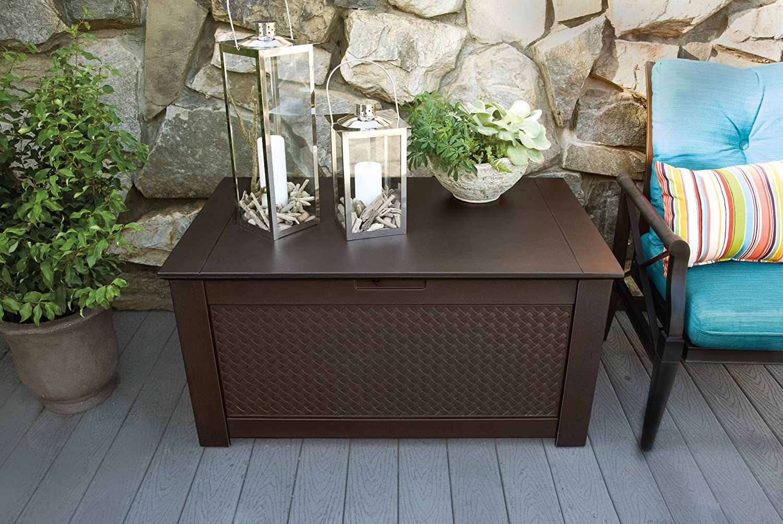 amazoncom rubbermaid patio chic plastic storage bench dark teak basket weave outdoor storage box patio lawn u0026 garden