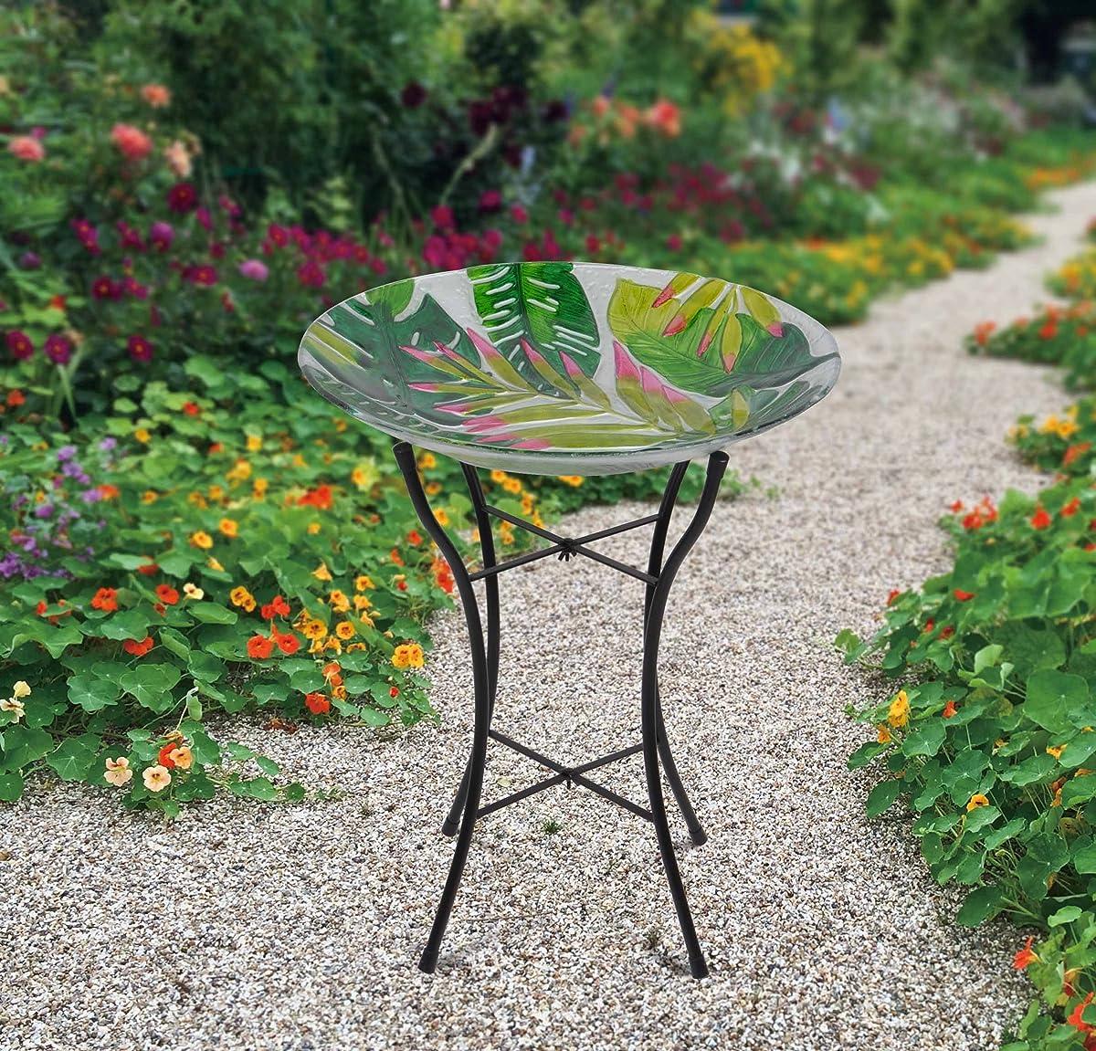 """Peaktop Outdoor 18"""" Tropical Glass Birdbath w/Metal Stand - Green"""