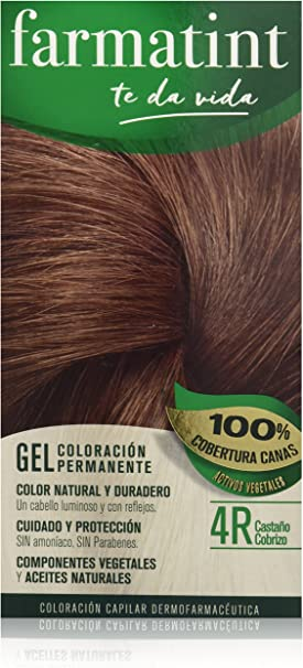 Farmatint Gel 4R Castaño Cobrizo   Color natural y duradero   Componentes vegetales y aceites naturales   Sin amoníaco   Sin Parabenos   ...