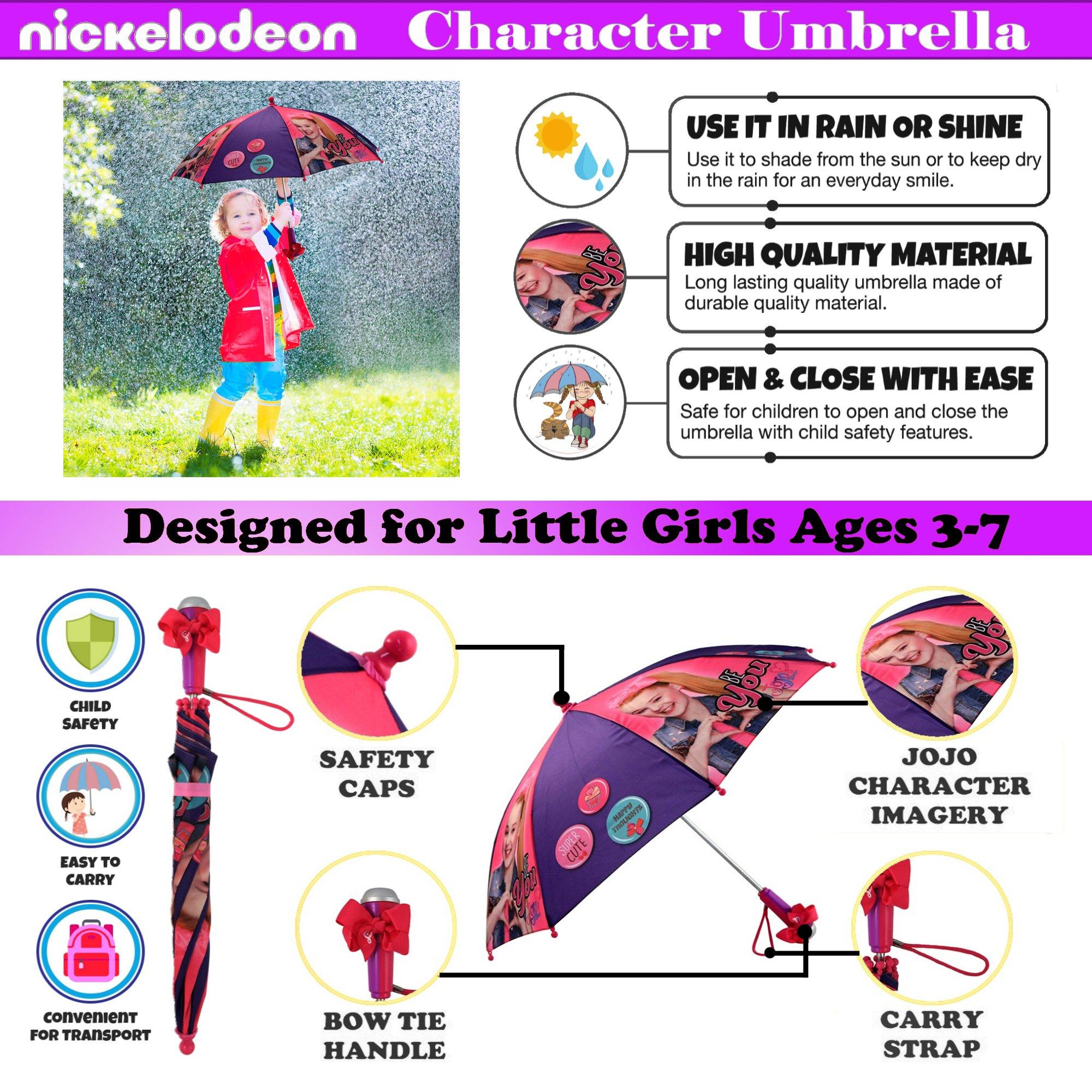 Nickelodeon Little Girls' Jojo Siwa Rainwear Character Umbrella, Purple/Pink, Age 3-7 by Nickelodeon (Image #2)