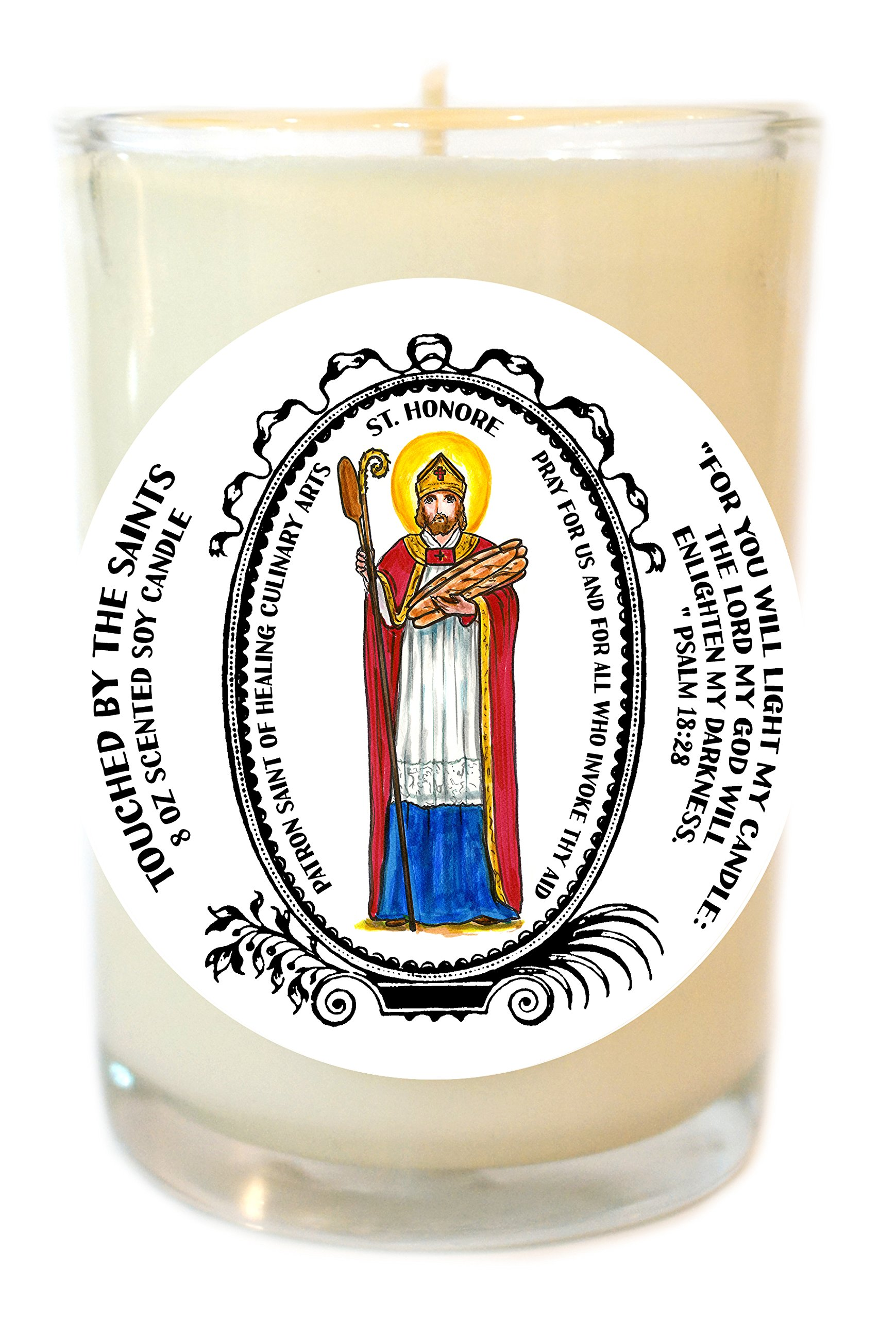 Saint Honore Patron of Healing Culinary Arts 8 Oz Scented Soy Prayer Candle