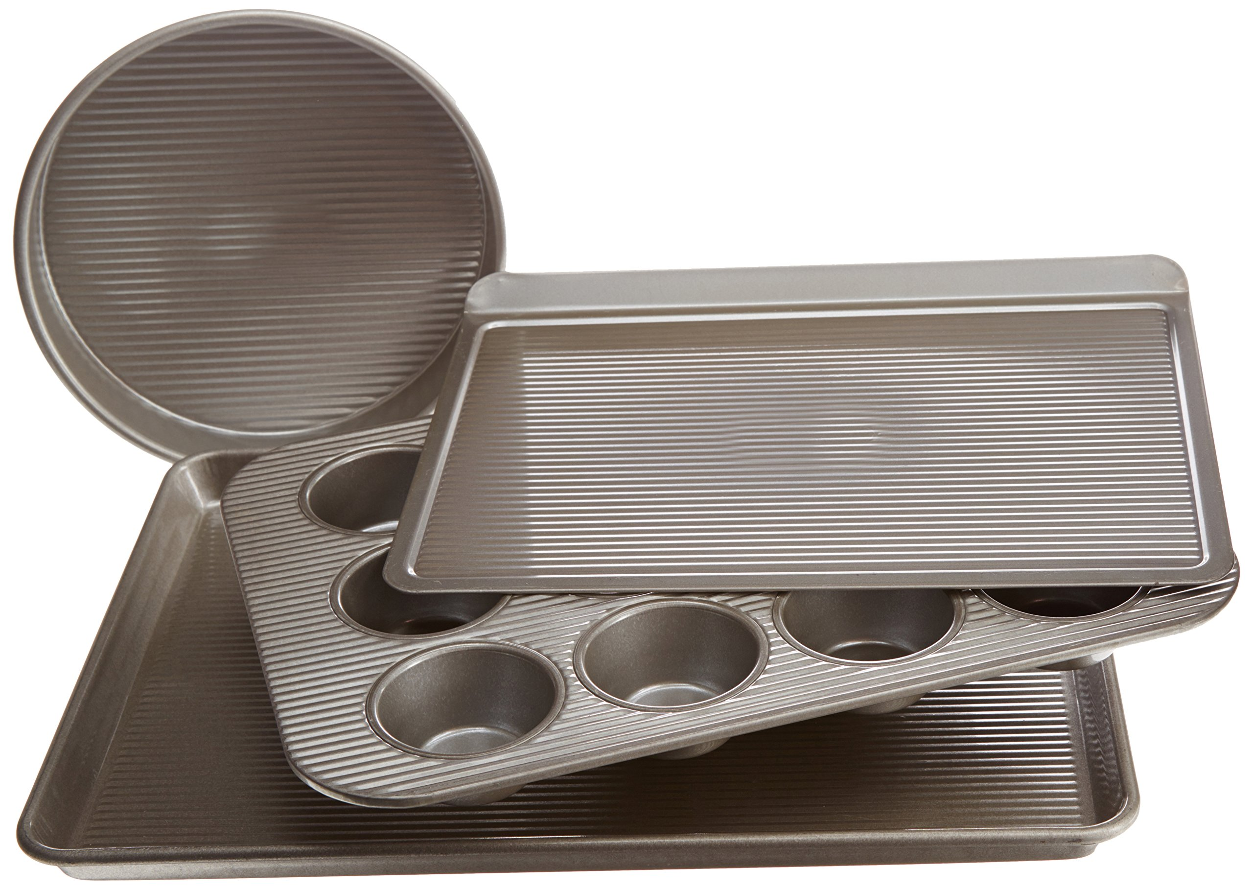USA Pan Bakeware Aluminized Steel 4 Piece Essential Baker Pan Set, 12 Cup Muffin Pan, Round Cake Pan, Cookie Sheet and Half Sheet
