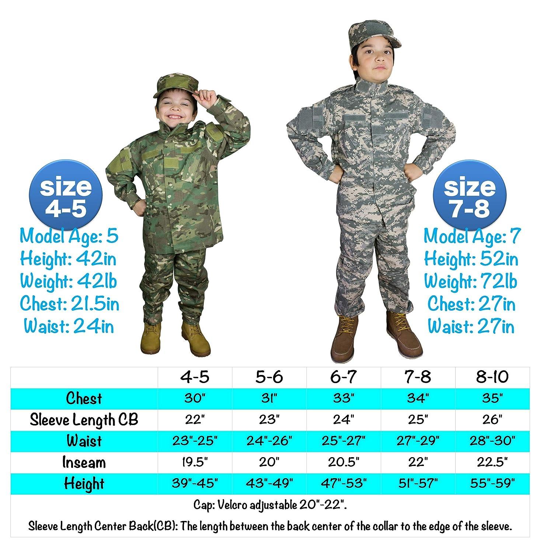 Amazon.com: Traje militar realista para niños, traje táctico ...
