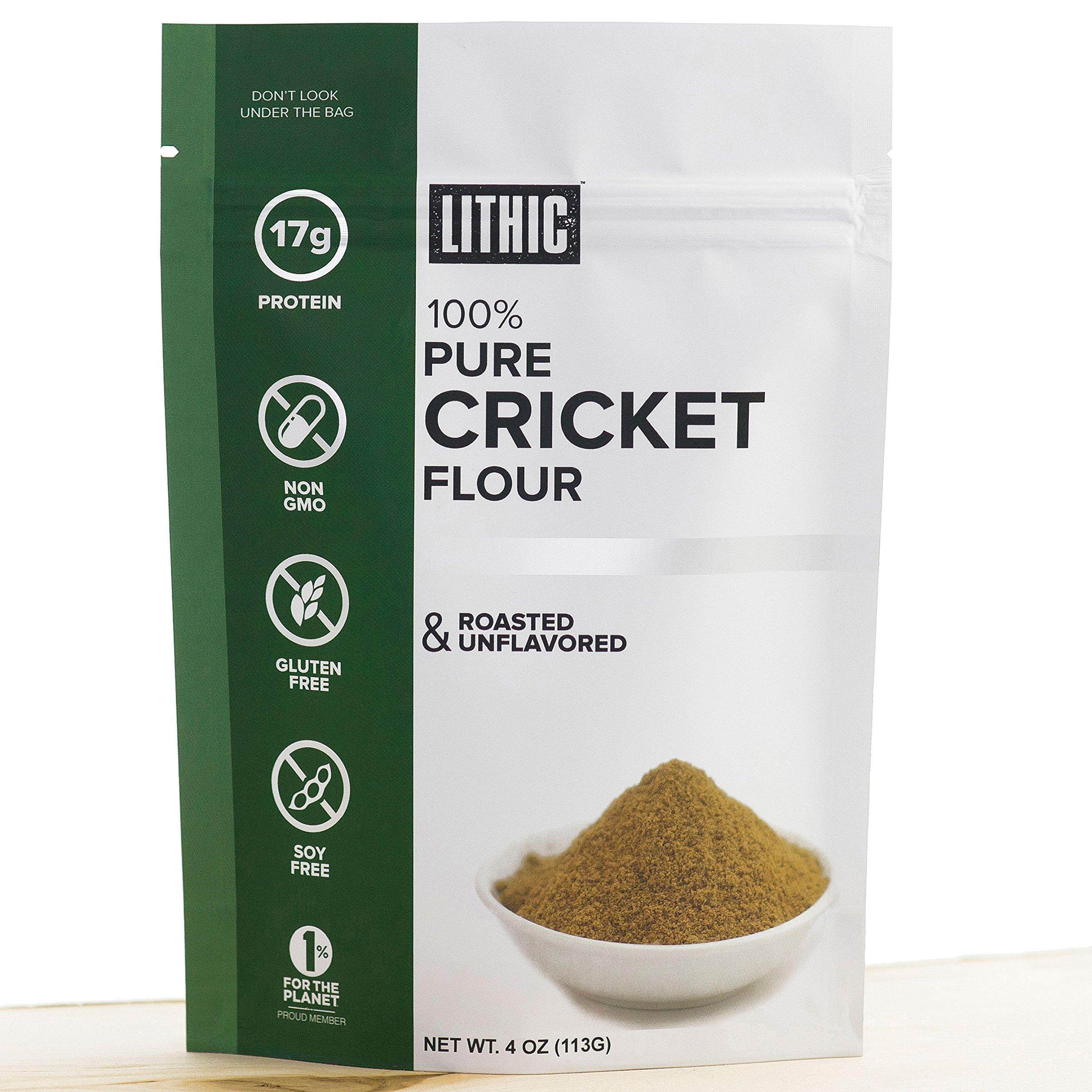Lithic - 100% Cricket Flour 1/4LB (113g) :Sustainable, Paleo