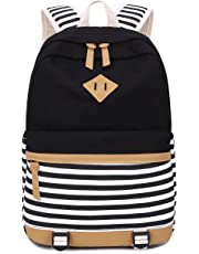 Canvas Students Backpack Casual School Bookbag for Teens Girls (black)