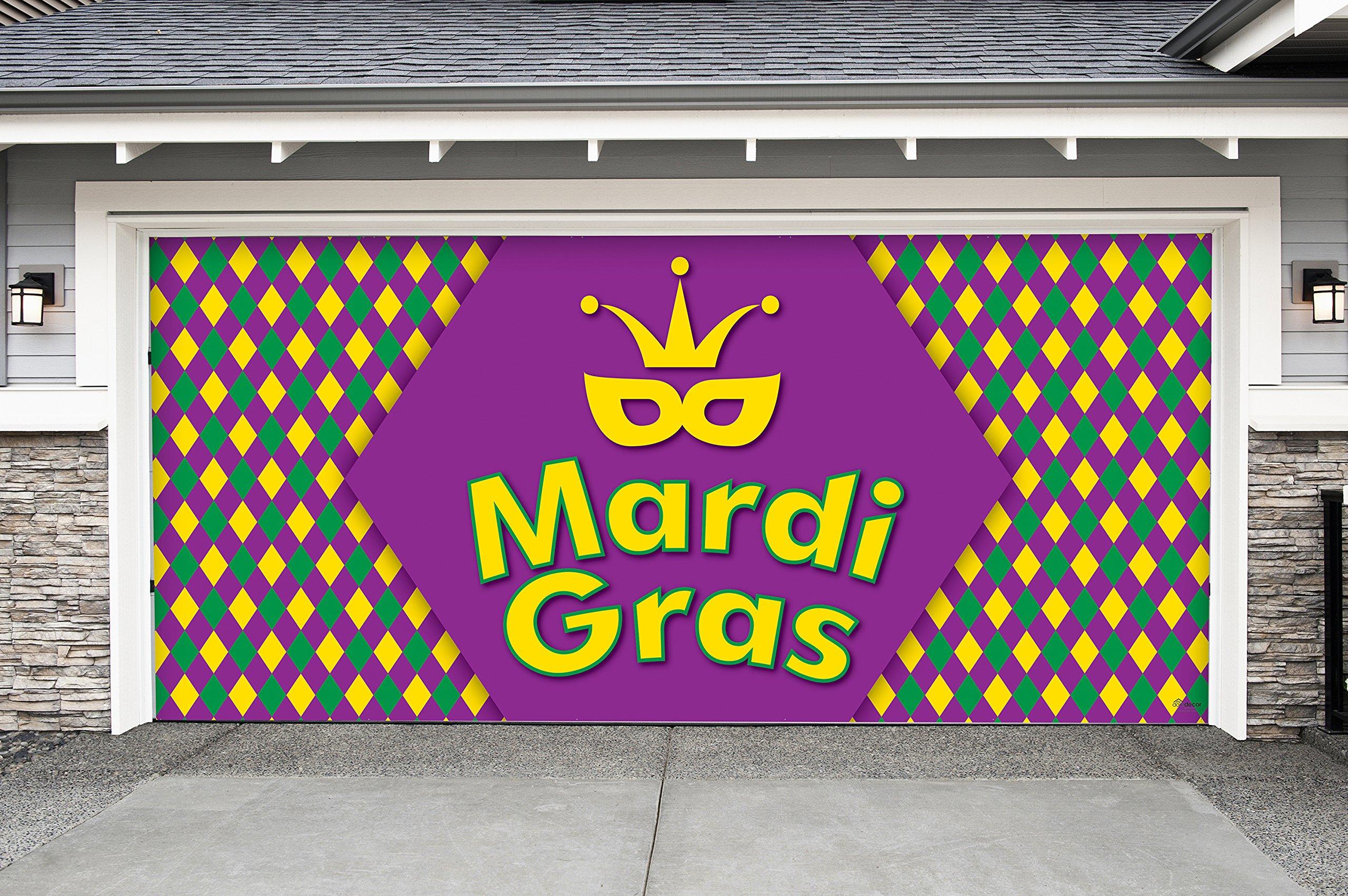 Outdoor Mardi Gras Decorations Garage Door Banner Cover Mural Décoration 7'x16' - Mardi Gras Diamonds - ''The Original Mardi Gras Supplies Holiday Garage Door Banner Decor''