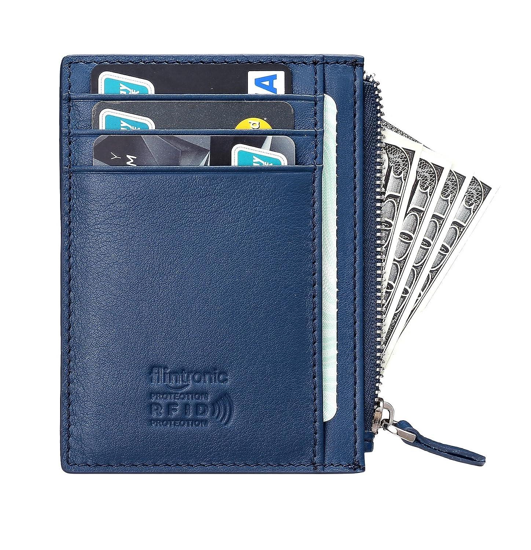 flintronic Tarjetas de Crédito Slim Moda RFID Bloqueo Monedero de Cuero Mini
