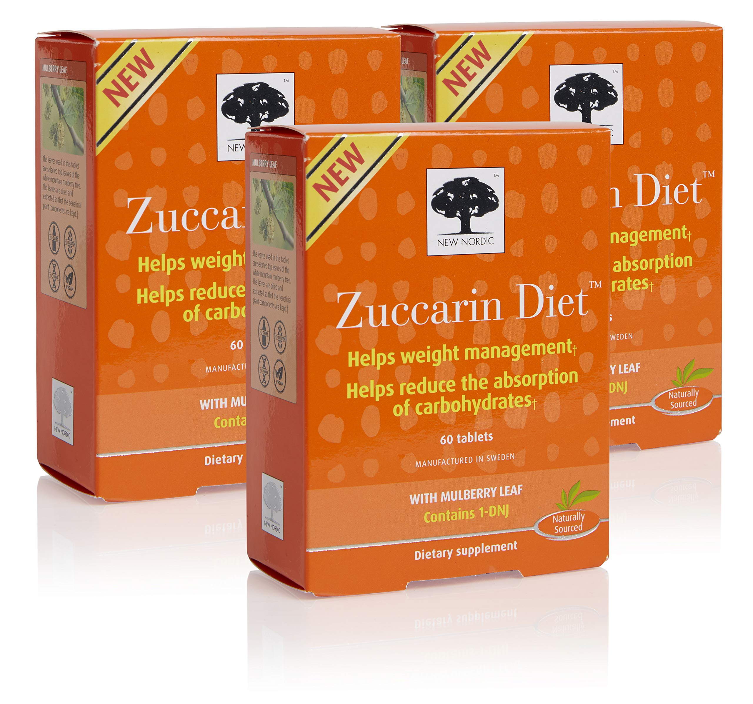New Nordic Zuccarin Diet w/Mulberry Leaf, 60 Tablets (Pack of 3)