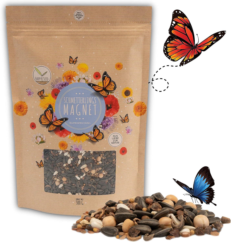500g Semillas de pradera para mariposas para una colorida pradera de flores - mezcla de semillas de flores silvestres ricas en néctar para mariposas