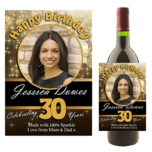 Personalised Happy Birthday WINE CHAMPAGNE BOTTLE PHOTO LABEL Any Age 18th 21st 30th 40th 50th
