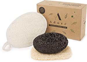Eco-Friendly Lava Pumice Stone for feet - Callus Remover for feet and hands - Natural Foot Scrubber for Exfoliation to Remove Dead Skin – Pedicure Foot Care Gift Set with Organic Loofah Pad & Tray