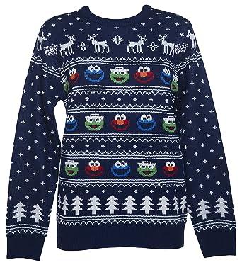 Womens Sesame Street Fair Isle Knitted Christmas Jumper: Amazon.co ...