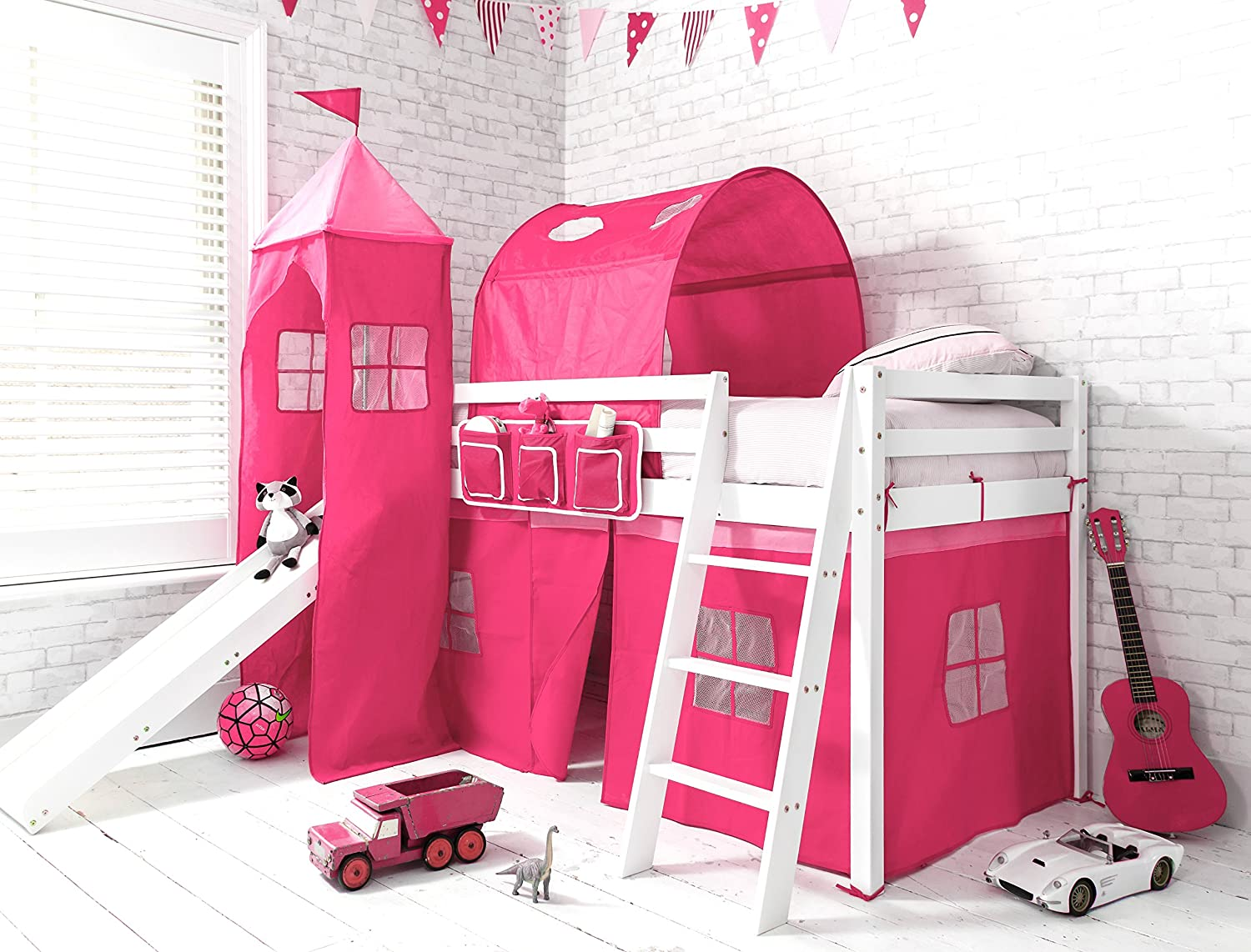 Cabin Bed Mid Sleeper in WHITE Pink Princess with Tower Tunnel u0026 Tent 6970WG-PINK Amazon.co.uk Kitchen u0026 Home  sc 1 st  Amazon UK & Cabin Bed Mid Sleeper in WHITE Pink Princess with Tower Tunnel ...