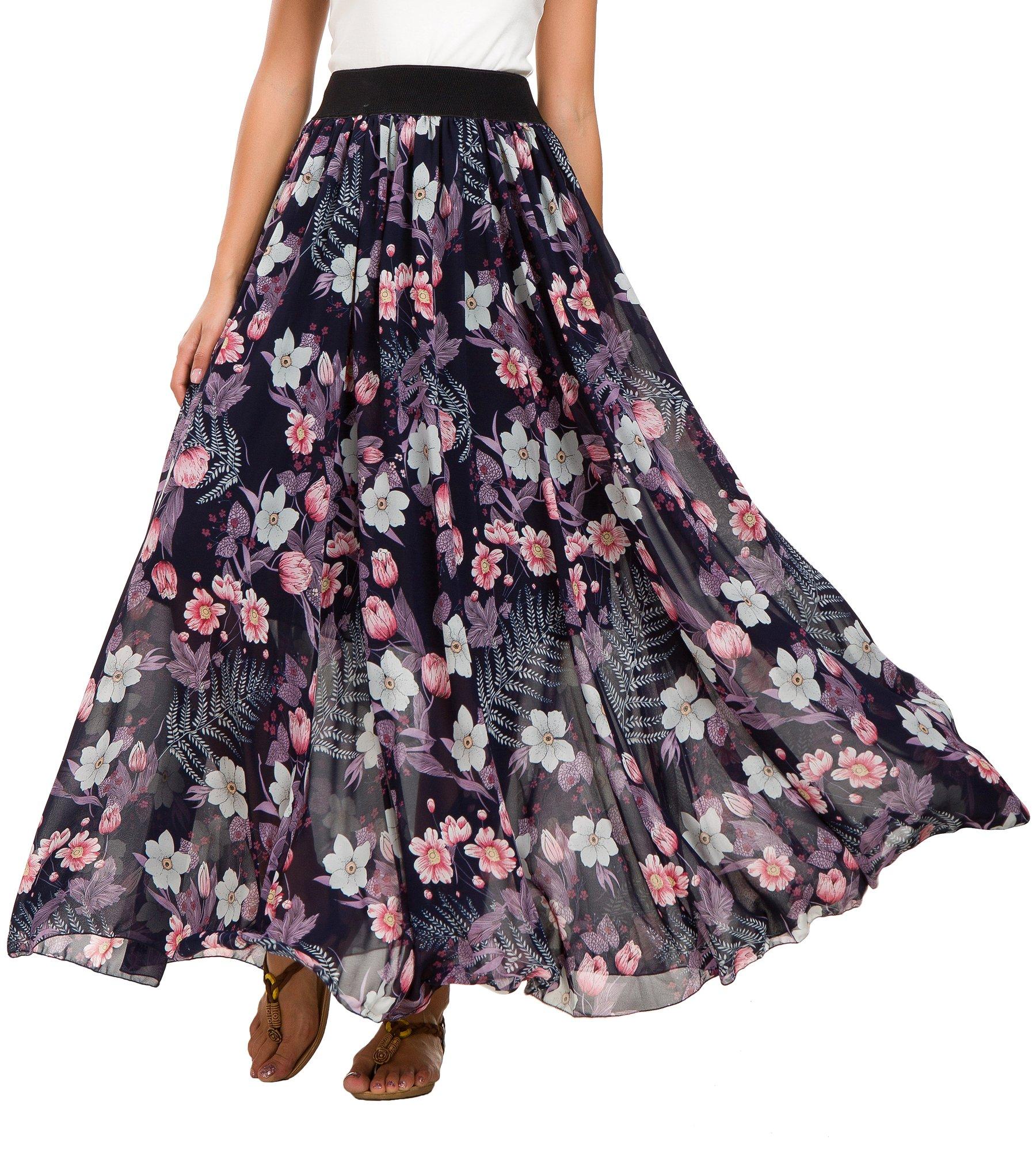Urban CoCo Women's Fashion Chiffon High-Waist Summer Long Maxi Skirt (XL, 2)