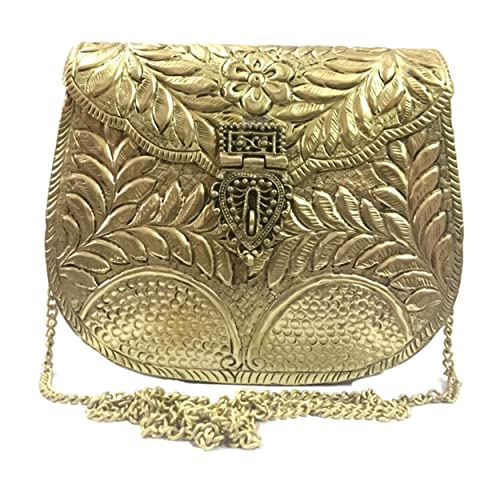 Trend Bolso de la mujer embrague partido embragues de metal Golden Vintage bolso de metal hecho a mano antiguo latón mano embrague: Amazon.es: Zapatos y ...
