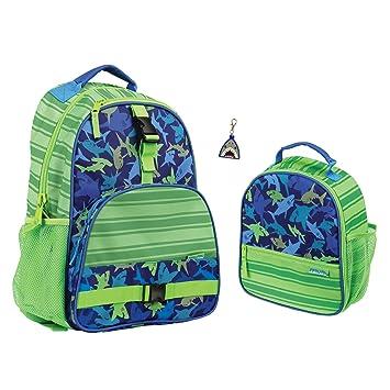 Amazon.com   Stephen Joseph Boys Shark Print Backpack, Lunch Box and Zipper  Pull   Kids  Backpacks 8e3e0e73458